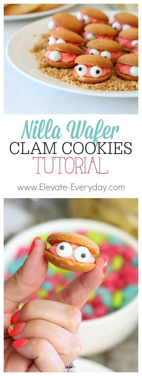 Super easy tutorial on how to assemble these cute little clam cookies for a mermaid or pirate birthday party