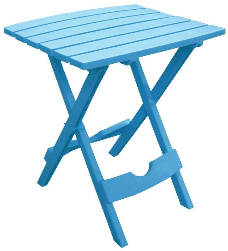 Pool Blue Plastic Outdoor Folding Table Patio Camping Hunting