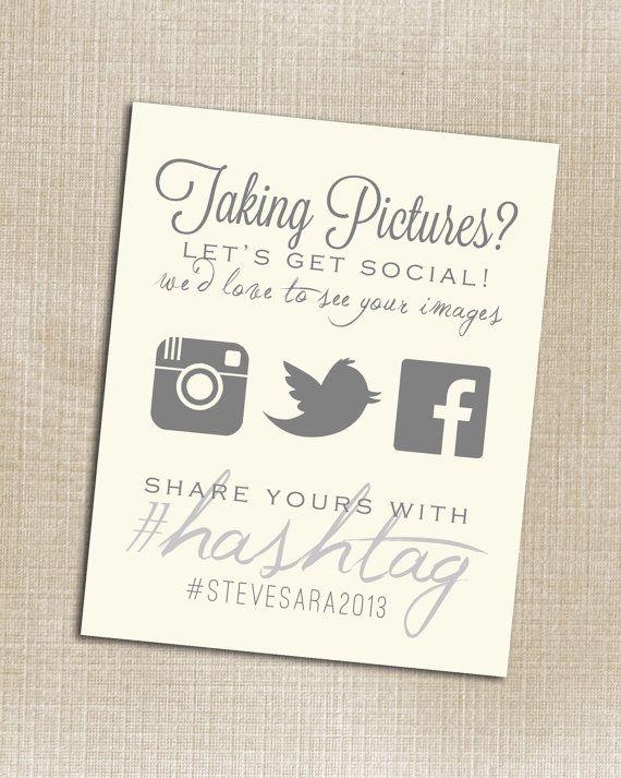 Hashtag for wedding pics... cool idea ; ) //Instagram ...