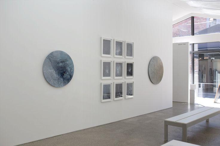 Sanderson Gallery, Anita Levering 2015, Retreat, watercolour on polyester 800mm tondo, Trace, watercolour on paper, morning fog 1000mm tondo, 2015