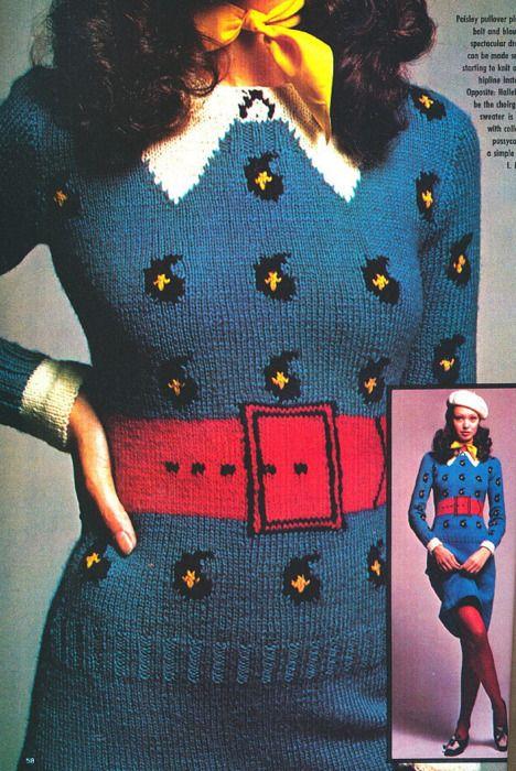 superseventies:    Trompe L'Oeil knit dress designed by Stan Herman, early 1970s.