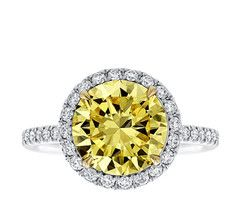 Round Brilliant Fancy Yellow Diamond Halo Ring
