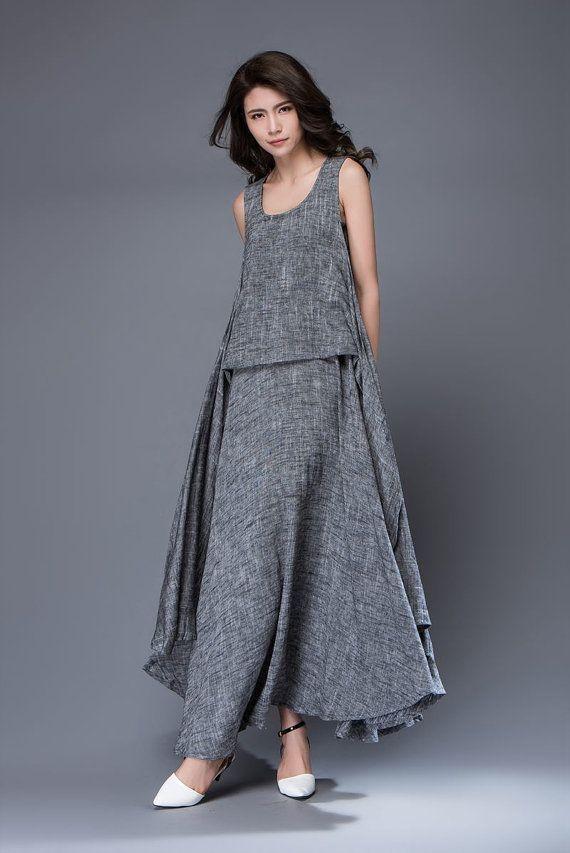 Gray Linen Dress Layered Flowing Sleeveless Long от YL1dress