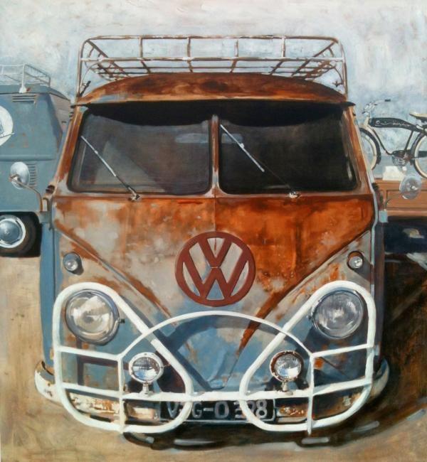 Hurst Bumper, Oil on panel, Santiago Michalek, VW painting, Volkswagen painting, bus painting, oil painting