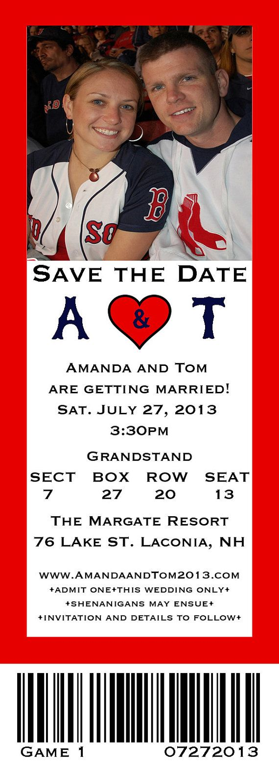 Red Sox Baseball Save the Date wedding by LBCustomInvitations