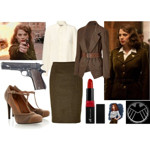Agent Peggy Carter by meta009 on Polyvore featuring Orla Kiely, Donna Karan, Jonathan Saunders, VIcenza, marvel, SHIELD, peggycarter and agentcarter
