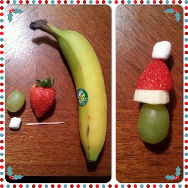 A little festive treat.... My Santa fruit hats! Cocktail stuck Mini Marshmallow Strawberry Banana Grape Great for parties!