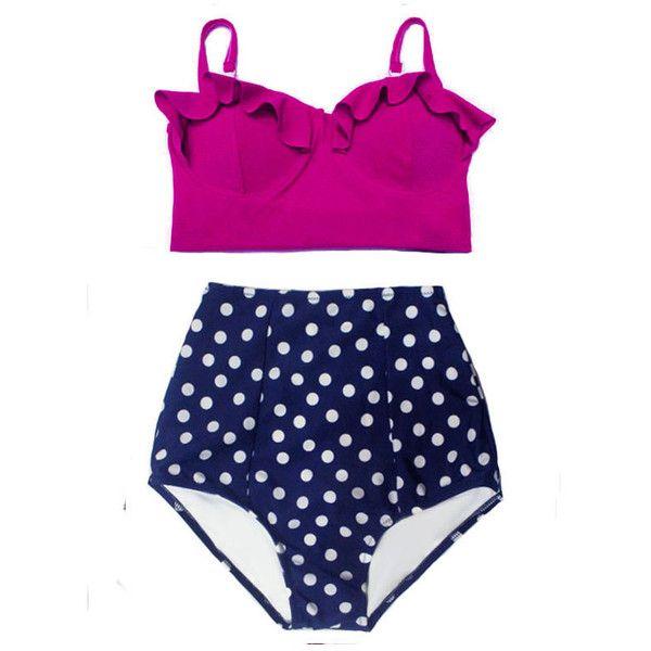 Maroon Midkini Top and Navy Blue White Polka Dot Bottom High Waisted... ($40) ❤ liked on Polyvore featuring swimwear, bikinis, grey, women's clothing, polka dot bikini, retro swimsuit, swimsuits bikinis, retro bathing suits and bikini bathing suits