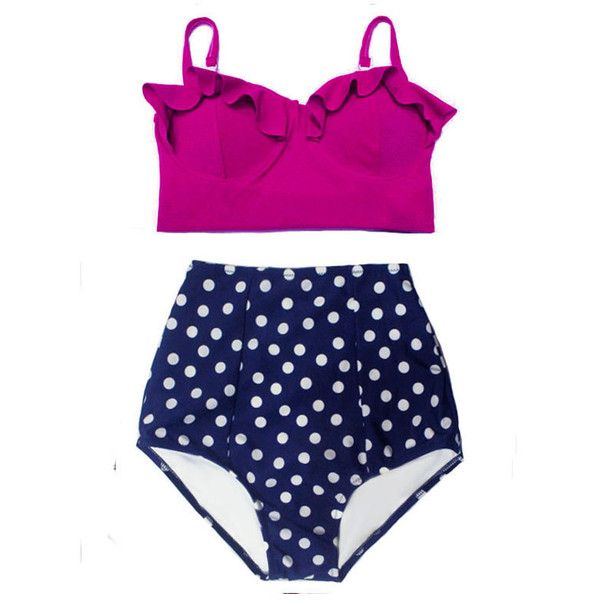 Maroon Midkini Top and Navy Blue White Polka Dot Bottom High Waisted... ($40) ❤ liked on Polyvore featuring swimwear, bikinis, grey, women's clothing, high waisted bikini swimwear, polka dot bikini, retro swimsuit, high-waisted bathing suits and high waisted swimsuit