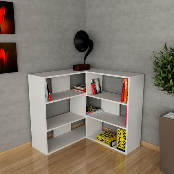 Buy Now!Modern corner bookcase, shelving unit from our bookshelf collection for the UK...Wite,Black,Red Oak colours..Cheapest bank holiday deals on furniture..