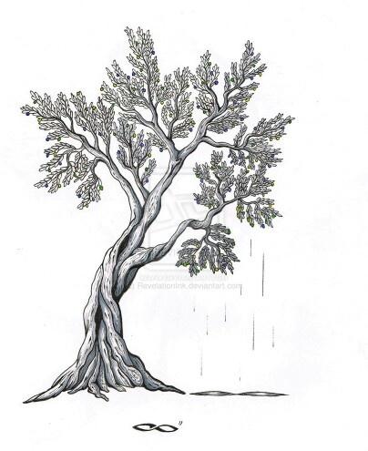 Olive tree tattoo design