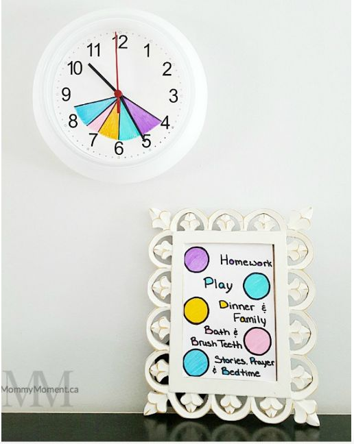 Help your kids learn to get manage their time by color-coding a basic wall clock.