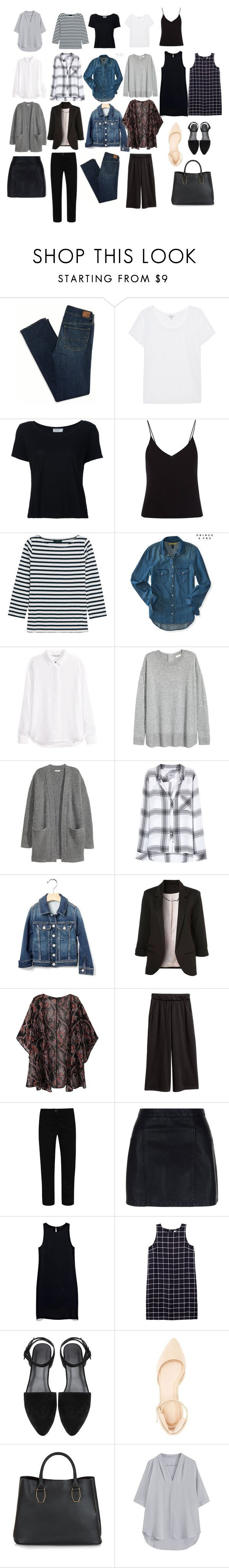 """""""Basic Wardrobe Capsule"""" by samantha-nicole-rivera on Polyvore featuring American Eagle Outfitters, Splendid, Frame Denim, T By Alexander Wang, J.Crew, Aéropostale, H&M, Rails, George and New Look"""