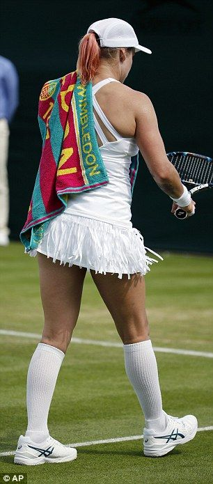 The American player teamed her unusual frilled skirt with a strappy vest top...