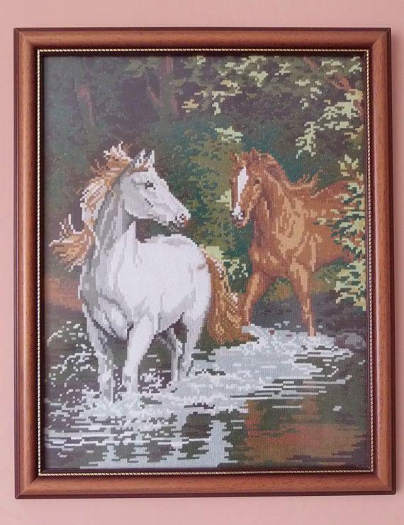 Hand Embroidery Tapestry Gobelin Horses In The by TapestryGobelin, €630.00