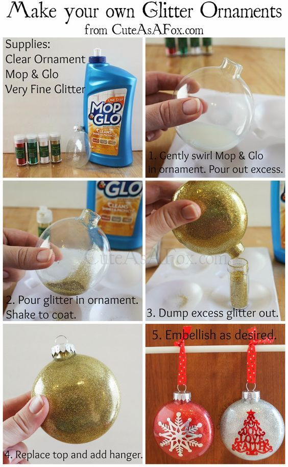 Glitter ornaments, with glitter on the inside. Use floor cleaner and very fine glitter. Add vinyl decal, initial, name, snowflake to the outside. Silhouette.:
