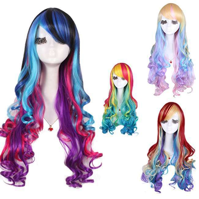 Cheap hair loss wigs, Buy Quality wig gold directly from China wig fringe Suppliers:  Length: 70cm/27.56inch(wig)    Coloor:  Color rainbow    Material: Sythetic high temp fiber