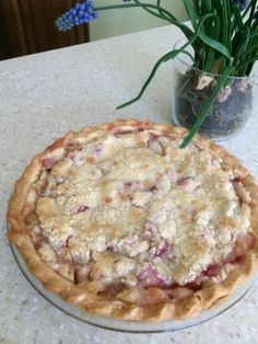 """Simply Fantastic Rhubarb Custard Pie Recipe - Food.com I used 1 cup sugar and added some strawberries. Tastes awesome. Next time may combine with """"mom's custard"""" recipe also on Pinterest. ** Julie"""