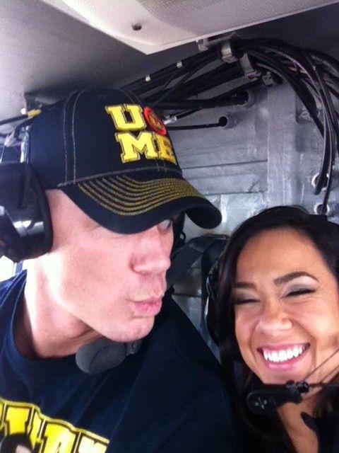 aj lee backstage  | ... WWE Stars & Divas With Troops – John Cena, AJ Lee, Big Show & More