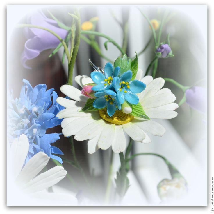"""Купить Серьги """"Голубые незабудки"""" - голубой, незабудка, реалистичные цветы, серьги незабудки, подарок серьги"""