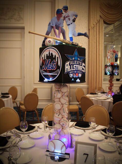 Mets Themed Baseball Centerpiece Mets Themed Baseball Centerpiece with Cutout Photos of Bar Mitzvah Boy & Player