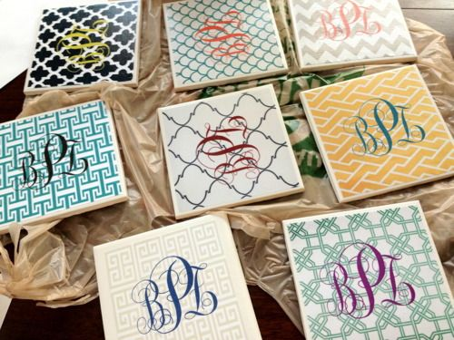 DIY Coasters- super cute and easy with monogram! I'll be doing this! Great gift idea too!!!