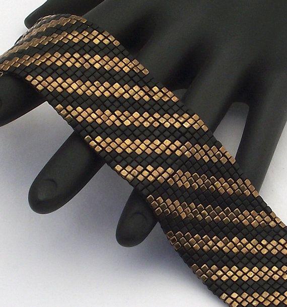 Square Stitch Beaded Bracelet Diagonals Matte Black by NeatBeading