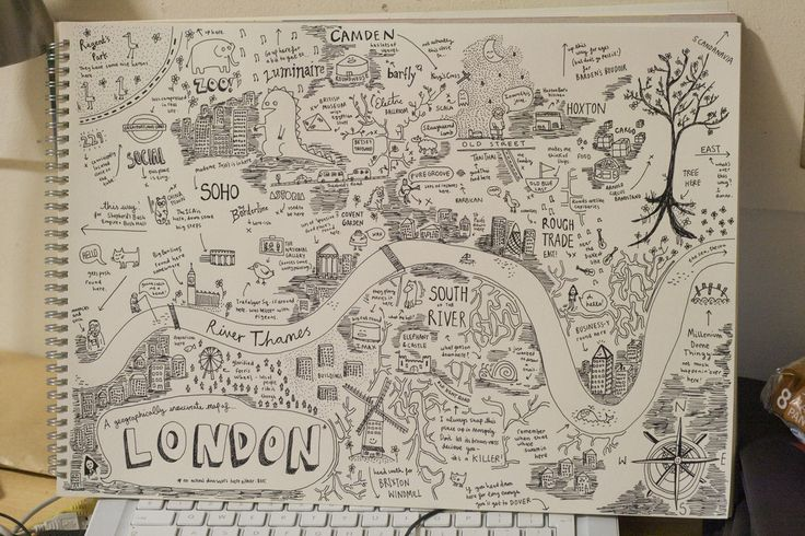 Map of London... Once again jealous of people with artistic abilities