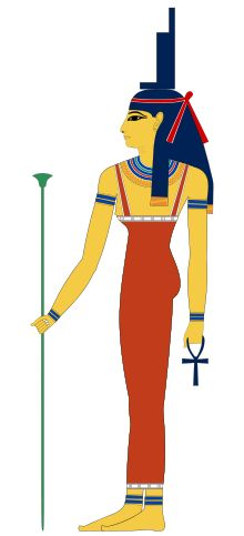 The goddess Isis portrayed as a woman, wearing a headdress shaped like a throne and with an Ankh in her hand Goddess of motherhood, magic and fertility Major cult center	Philae, Abydos Symbol	the throne, the sun disk with cow's horns, the sycamore tree Consort	Osiris Parents	Geb and Nut Siblings	Osiris, Set, and Nephthys