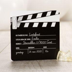 Een communie- of lentefeest voor een filmster? Deze filmklapper is de perfecte uitnodiging! | Tadaaz #communie #lentefeest www.tadaaz.be