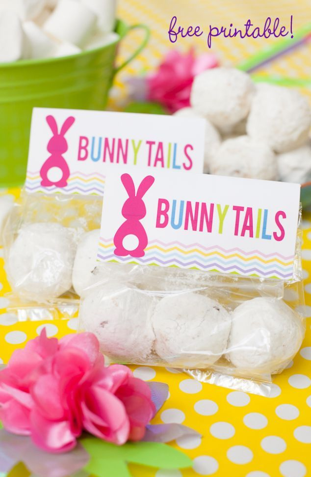 """Last minute Easter favor - marshmallow or donut hole """"Bunny Tails"""" ~ Free printable toppers on FrogPrincePaperie.com"""