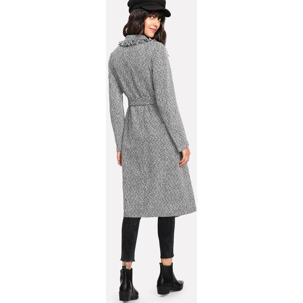 Fringe Trim Self Belted Tweed Coat ❤ liked on Polyvore featuring outerwear, coats, tweed coat, fringe coat, belted coat and tweed wool coat