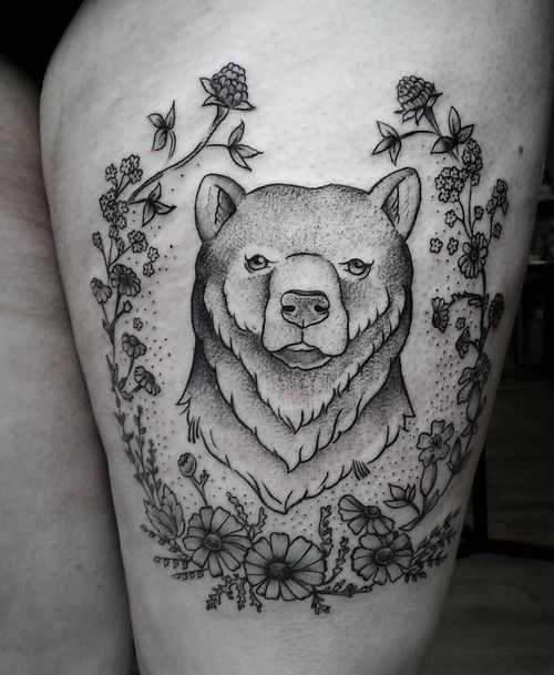 brilliant grizzly bear with the unwinking gaze tattoo for girls
