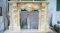 Heavily Carved Marble Fireplace Mantel, French Rococo Baroque Design #3927