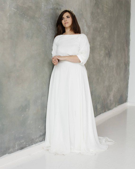 ead83c74fc8 Plus size Wedding Dress  boho wedding dress  Big size Wedding Dresses   3 4  Sleeve Wedding Dress   B