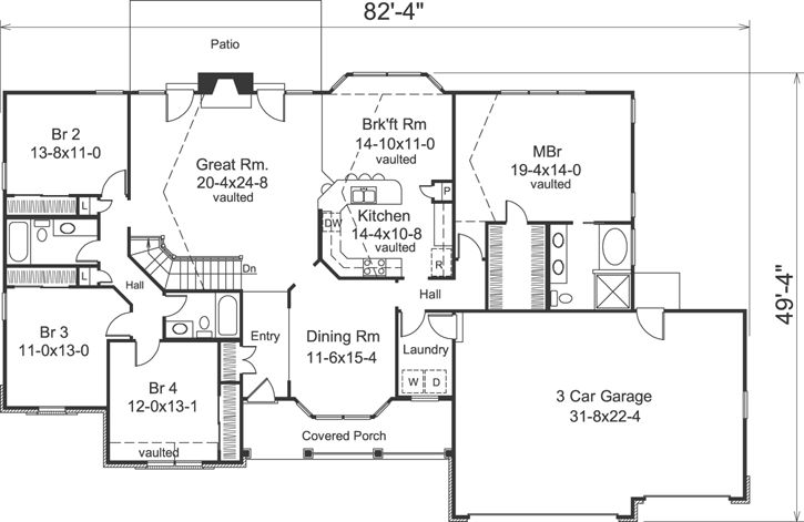 Ranch Style House Plans 2322 Square Foot Home 1 Story