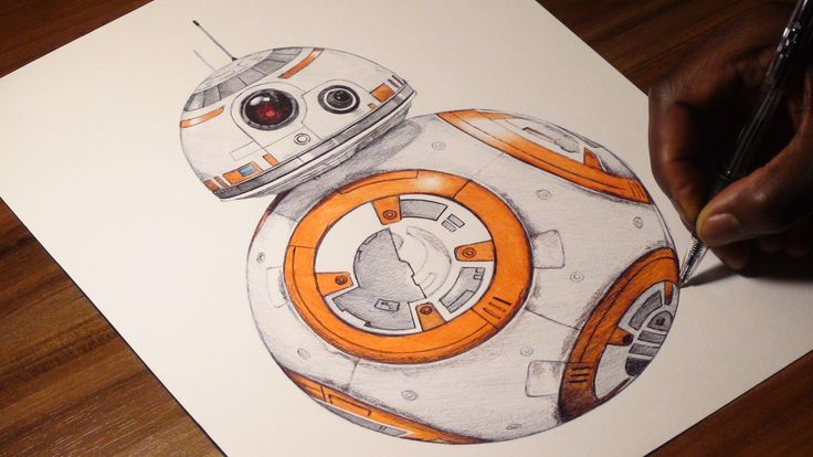 BB-8 Ballpoint Pen Drawing- Star Wars VII : The Force Awakens - Freehand...
