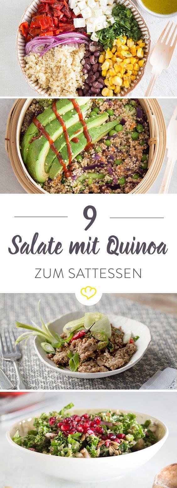 Du hast Lust auf einen Salat – auf einen Salat, der dich fit hält und satt macht? Dann sind diese 9 Sattmacher-Salate genau das Richtige für dich. Die Basis: Knackiger Quinoa – reich an Proteinen, arm an Fettsäuren und frei von Gluten.