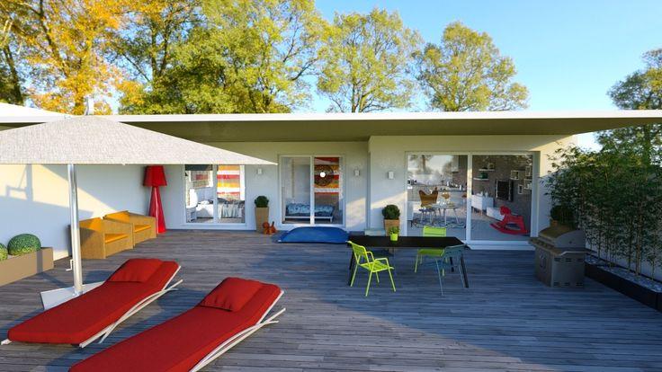 Simulation du0027aménagement extérieur en 3D terrasses et jardins comme
