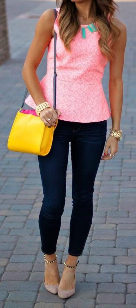 Pink Peplum + Skinnies