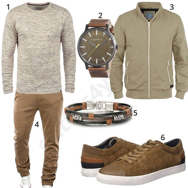 Beiges Herren Outfit mit Chino und Sneakern (m0595 | Herren