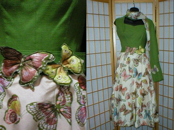Vintage 50s butterfly print day dress w/ belt and shawl by antique, $149.00