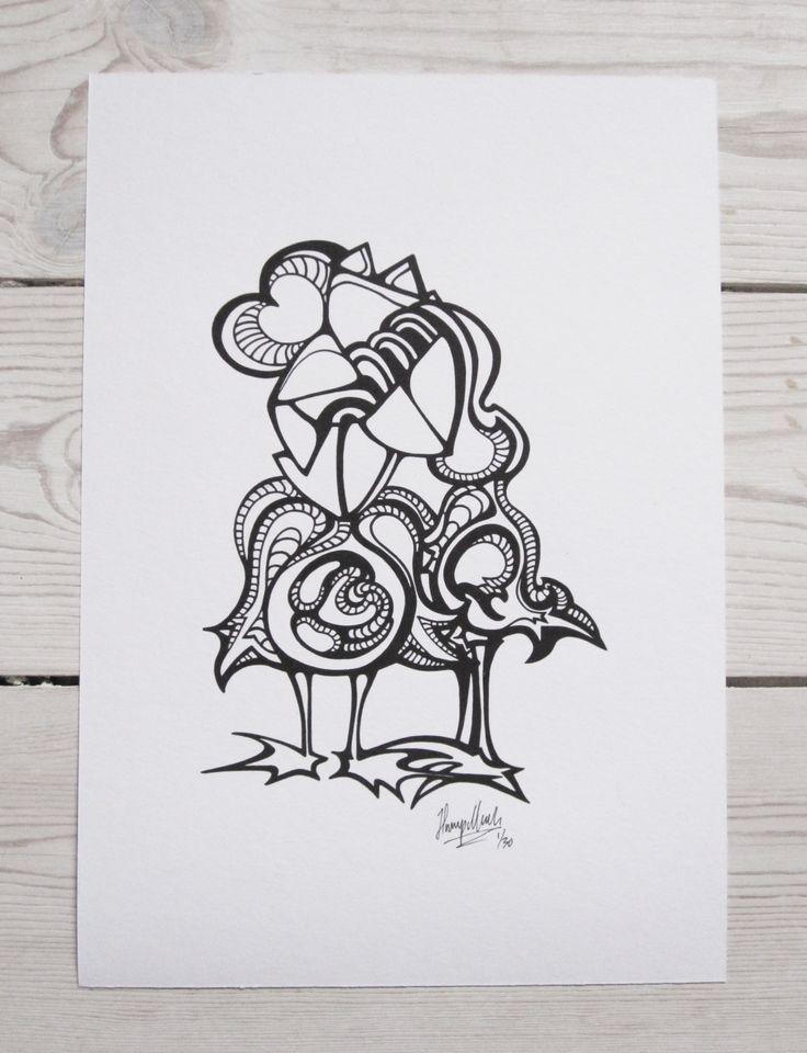 """Lovebirds"" by hurupmunch Printed illustration on akvarel paper A4: Dkk 150,-"