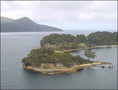 Ariel view of the Isle of the Dead, with Point Puer behind.