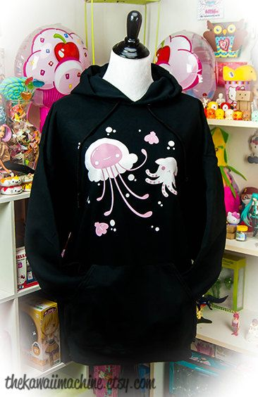 This hoodie features a fluffy jelly alongside a little dumbo octopus surrounded by bubbles and shells. I have a deep love and fascination for
