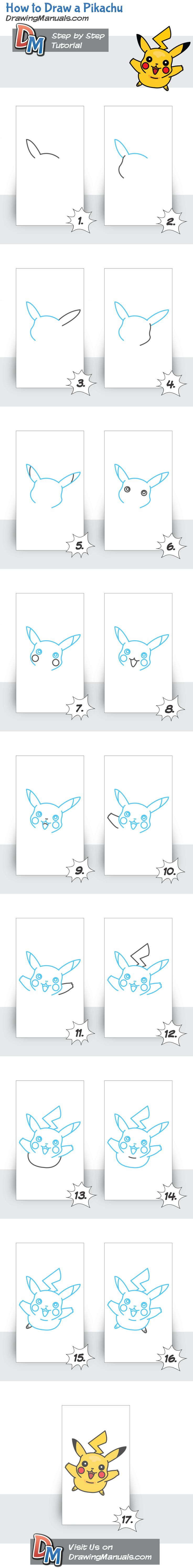 How to Draw Pikachu http://drawingmanuals.com/manual/how-to-draw-a-pikachu/ #drawing #tutorials #