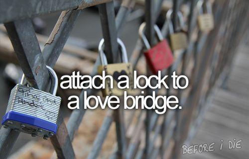 Attach a lock to a love bridge. Done in Cologne, DE with Scott. <3