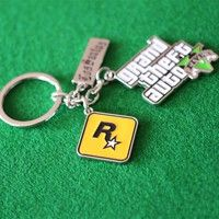 Wish | New Arrival GTA5 Keychains Alloy Key Rings Games Pendants Grand Theft Auto V Memorial Gifts