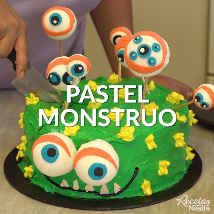 Éste increíble #PASTEL #MONSTRUO será protagonista en #HALLOWEEN ¡Tienes que prepararlo! Hallowen Food, Yoshi, Deserts, Cooking Recipes, Halloween, Creative, Shortbread Cookies, Birthday Cake, Decorating Cakes