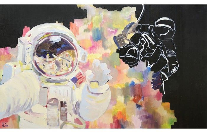 LOT 78 - DOMINIC VÎRTOSU - Astronauts [2014] - Oil and paint pen on canvas - 60 × 100 cm (23.6 × 39.4 inch) - Estimate €700 - €1,000 http://lavacow.com/current-auctions/lavacow-christmas-auction/space.html#sthash.mnNjKQ9N.dpuf